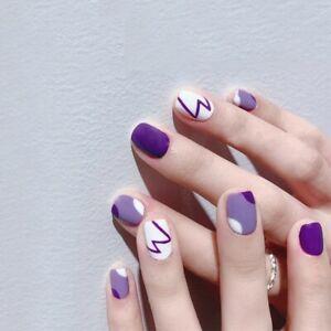 Purple Graffiti Fake Nails Square Artificial False Nail Tips Full Press On Nails