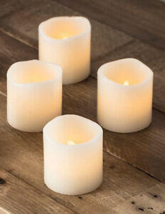 Set of 4 LED Real Wax Candles Flickering Battery Operated Flameless Candles