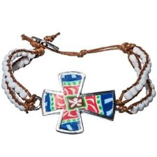 Beaded Cord Fashion Bracelet with Sideways Colorful Cross (White Beads)