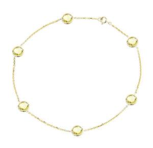 14K Yellow Gold Anklet Bracelet with Lemon Topaz Gemstones 9 Inches