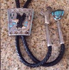 Navajo/Zuni Artisans Jake & Irene Livingston handcrafted Sterling Bolo Tie