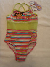 NICKELODEON Girls 3T Striped One Piece Dora Swimsuit NWT Summer