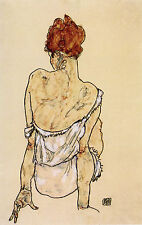 Egon Schiele Reproductions: Woman in Underwear, Back View  - Fine Art Print