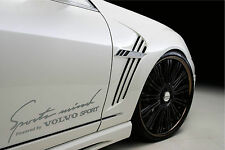 Sports Mind Powered by VOLVO Sport Racing Decal sticker emblem logo SILVER Pair