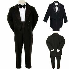 New Baby Boy Kid Teen Formal Party Wedding Church Tuxedo Suit w/Tail Black S-20