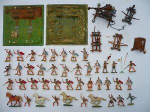 Elastolin HAUSSER 42 Figuren Römer Ritter Pferde 2 DIORAMA PLATTEN 3 KATAPULTE