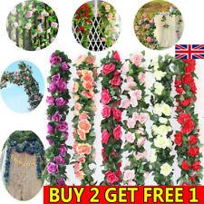2x 8Ft Wedding String Vine Flower Silk Ivy Garden Rose Garland Artificial Decor