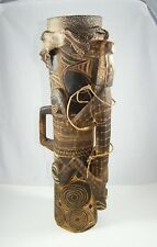 VINTAGE NEW GUINEA ~ ASMAT HOURGLASS KUNDA ~ CARVED WOOD / SKIN DRUM 24 X 5-1/2