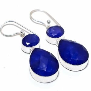 Blue Sapphire Gemstone 925 Sterling Silver Jewelry Earring 2.0""