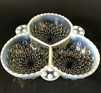 ANCHOR HOCKING MOONSTONE DIVIDED CONDIMENT BOWL OPAQUE HOBNAIL VINTAGE