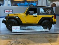 Willy's Jeep Wrangler Yellow Maisto 1:18 Scale Diecast Metal Toy Model Car NEW