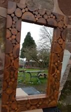 Reclaimed teak root log Wall mirror  woodland style rectangle wall mirror
