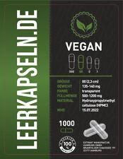 Leerkapseln | 1000 Stück | Gr 00 | vegetarisch vegan - HPMC | ganze Kapseln leer