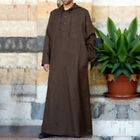 Mens Hooded Muslim Saudi Arab Middle East Thobe Islamic Jubba Robe Solid Kaftan