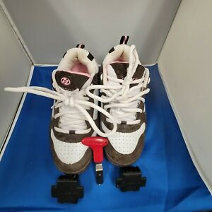 Heelys White, Chocolate Brown, Baby Pink, Size 8 Womens With tool Style 9122