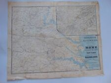 c.1864  - ANTIQUE CIVIL WAR MAP - THE APPROACHES FROM WASHINGTON TO RICHMOND
