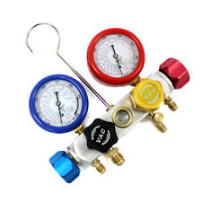 R410a R22 R134a Refrigerant 4 Valve Manifold Dual Gauge Recovery Charging Vacuum