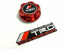 RED JDM BILLET RACING ENGINE OIL CAP FOR TOYOTA SCION + EMBLEM