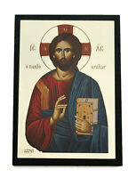 Greek Russian Orthodox Lithograph Icon CHRIST Pantokrator 02 7.5x10.5cm