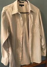Brandini Mens Button Up Long Sleeve Shirt Cream M Medium Polyester Nylon