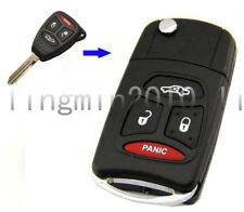 4 Buttons Flip Folding Refit Remote Key Case Upgrade Shell For Chrysler Dodge
