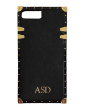 PERSONALISED MONOGRAM Genuine Leather Studded Phone Case Black iPhone 7 Plus