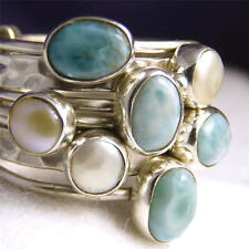 7-STACK Size US 10.75 SILVERSARI Solid 925 Sterling Silver LARIMAR/PEARL STR1002