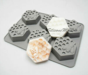 6 cell HEXAGON Honey Bee Silicone Baking Mould Wax Beeswax Candle Cake Mold 65ml