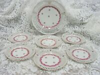 antique reticulated pierced cake plate 7 pc dessert set chic pink roses unmarked