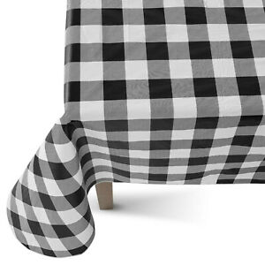 Buffalo Plaid PEVA Tablecloth Flannel Backed Vinyl Black & White Check