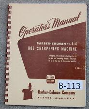 Barber Colman No 4 4 Gear Sharpening Machine Operations Manual