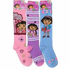 63d0ddb085b Kids Girls Dora The Explorer Knee-High Socks Assorted Size 6-8 Shoes 10.5