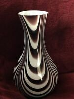 Glass Vase Dark Purple White Swirl