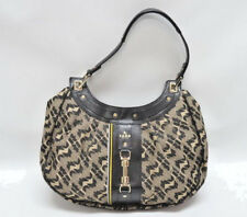 L.A.M.B. GWEN STEFANI SIGNATURE BLACK/TAN COMMODORE HOBO BAG - EUC