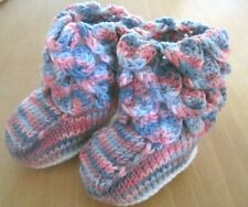 WARM WINTER WOODLAND FAIRY BOOTEES. AGE 0-3m. PINK AND GREY. WHITE SOLE