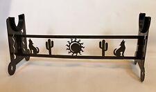 Native American Flute Stand Rack Handmade Plasma Cut Metal Art Coyote Cactus Sun