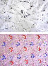 Stoff mit Stickerei u Pailetten Indien Bollywood Kleid Sari Gardine Abendkleid B