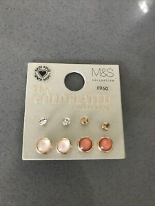 Marks and Spencer The Gold Plated Collection 4 pairs Stud Earrings Coral Neutral