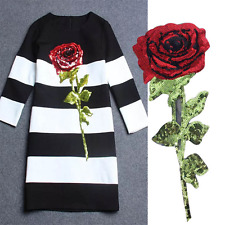 Hot Rose Sequins Flower Sequin Back Glue Iron On Dress Applique Patch H
