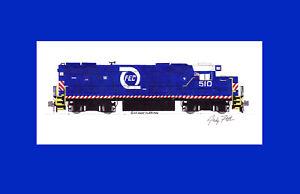 "Florida East Coast GP38-2 #510 11""x17"" Matted Print Andy Fletcher signed"