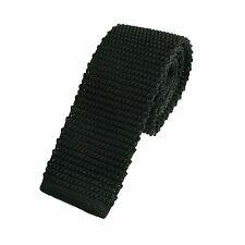 Men's Plain Black Narrow Slim Skinny Silk Knitted Tie (6-N006)