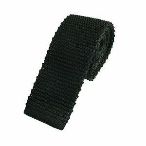 Men's Plain Black Slim Narrow Width Silk Knitted Tie (6-N006)