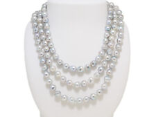 Natural Blue Akoya  Baroque Pearl 7.5mmX8.0mm Fashion Necklace 47.2 inches