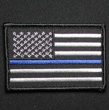 USA AMERICAN FLAG DARK OPS POLICE THIN BLUE LINE TACTICAL MORALE HOOK PATCH