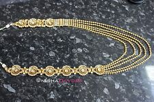 Long Necklace Gold Diamante Indian Adjustable