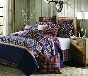 NINE PATCH STAR BLUE RED 3pc Full Queen QUILT SET : COUNTRY FARMHOUSE STARBURST