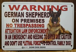 "Metal Warning German Shepherd Dog Sign For FENCE,Beware Of Dog 8""x12"" Guard Dog"