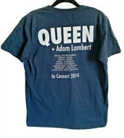 Queen + Adam Lambert Rhapsody Tour 2014 Black T Shirt Size Medium