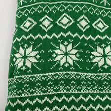 Christmas Tree Skirt Green and White Snowflakes 48 Inch Enchanted Forest New