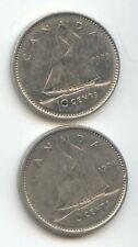 Canada 1973 1974 Canadian DIME Ten Cents 10c Exact Coin Set Shown ~